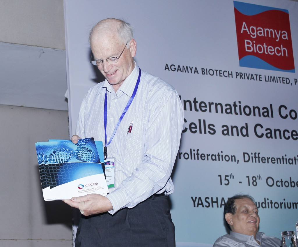 Prof. Dr. Keith Humphries (Canada) releasing the first brochure of ICSCCB in Pune, India in October 2011.